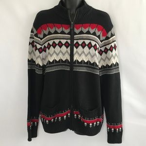 Chaps Black/Gray/White/Red Sweater